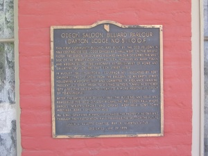 Historical marker placed outside of the Odeon Hall.