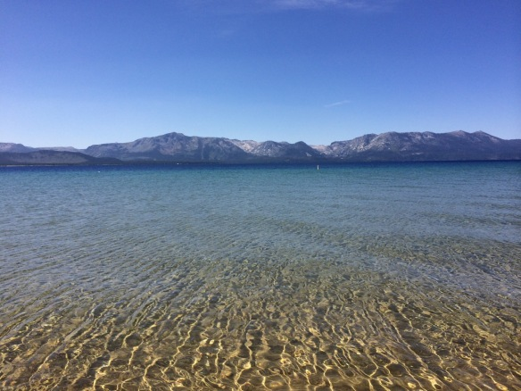 lake tahoe beach and mountains